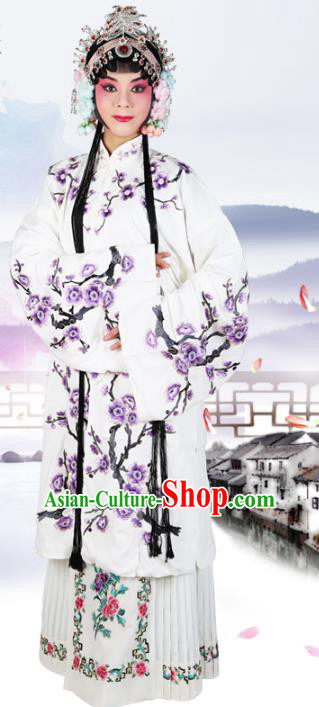 Chinese Beijing Opera Actress Embroidered Wintersweet White Costume, China Peking Opera Diva Embroidery Clothing