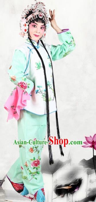 Chinese Beijing Opera Servant Girl Embroidered Costume, China Peking Opera Actress Embroidery Clothing