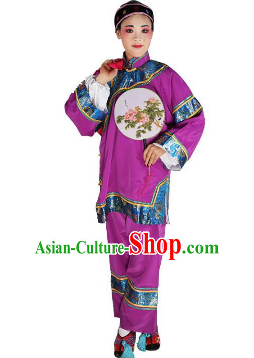 Chinese Beijing Opera Pantaloon Embroidered Purple Costume, China Peking Opera Landlord Shiva Embroidery Clothing