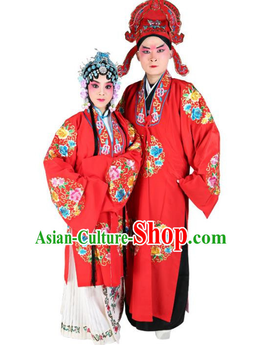 Chinese Beijing Opera Actress and Niche Embroidered Red Costume, China Peking Opera Embroidery Clothing Complete Set