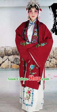 Chinese Beijing Opera Actress Nobility Lady Embroidered Purplish Red Costume, China Peking Opera Diva Embroidery Clothing
