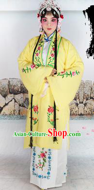 Chinese Beijing Opera Actress Nobility Lady Embroidered Yellow Costume, China Peking Opera Diva Embroidery Clothing