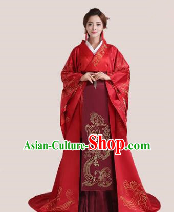 Traditional Chinese Han Dynasty Imperial Princess Wedding Costume, China Ancient Bride Hanfu Embroidered Clothing for Women