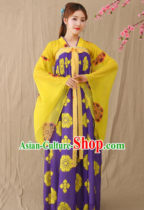 Traditional Chinese Tang Dynasty Princess Fairy Costume, China Ancient Palace Lady Hanfu Clothing for Women