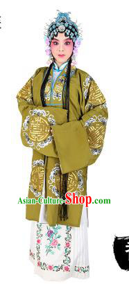 Chinese Beijing Opera Actress Embroidered Green Costume, China Peking Opera Diva Embroidery Clothing