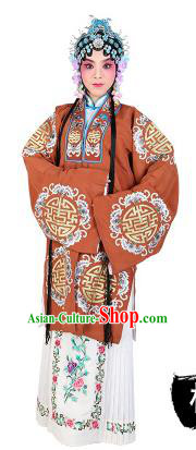 Chinese Beijing Opera Actress Embroidered Brown Costume, China Peking Opera Diva Embroidery Clothing