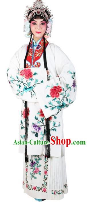 Chinese Beijing Opera Actress Embroidered Flowers White Costume, China Peking Opera Diva Embroidery Clothing