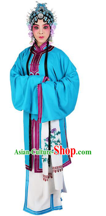 Chinese Beijing Opera Actress Tsingyi Blue Costume, China Peking Opera Young Lady Embroidery Clothing
