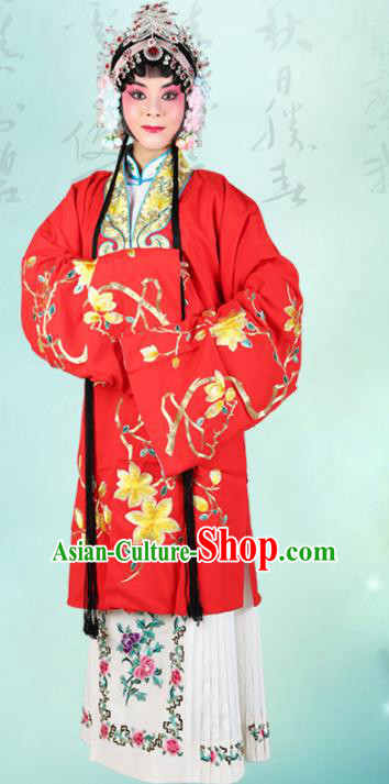 Chinese Beijing Opera Actress Embroidered Peony Red Costume, China Peking Opera Diva Embroidery Clothing