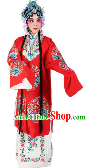 Chinese Beijing Opera Actress Nobility Lady Embroidered Red Costume, China Peking Opera Diva Embroidery Clothing