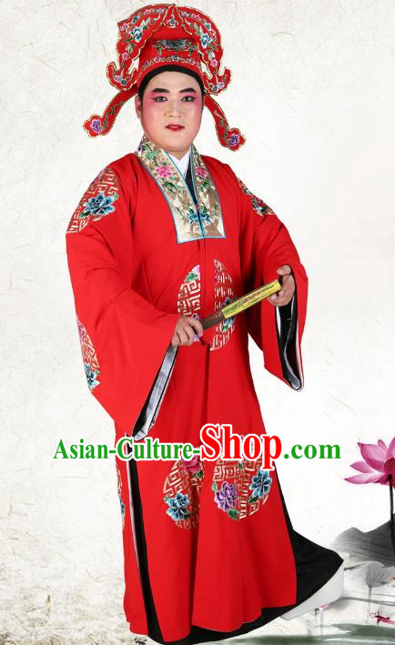Chinese Beijing Opera Young Men Costume Red Embroidered Robe and Hats, China Peking Opera Scholar Clothing