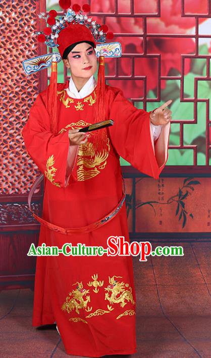 Chinese Beijing Opera Lang Scholar Costume Red Embroidered Robe, China Peking Opera Niche Clothing
