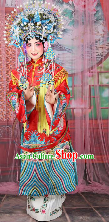 Chinese Beijing Opera Actress Imperial Concubine Costume Phoenix Coronet and Embroidered Robe, China Peking Opera Diva Clothing