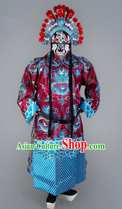 Chinese Beijing Opera Bao Zheng Costume Purple Embroidered Robe, China Peking Opera Prime Minister Embroidery Gwanbok Clothing