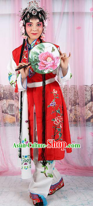 Chinese Beijing Opera Young Lady Embroidered Costume, China Peking Opera Actress Embroidery Clothing