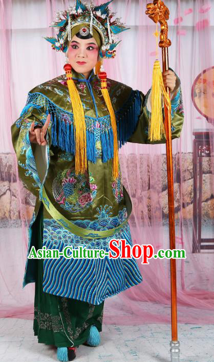 Chinese Beijing Opera Actress Old Women Costume Green Embroidered Robe, China Peking Opera Pantaloon Embroidery Clothing