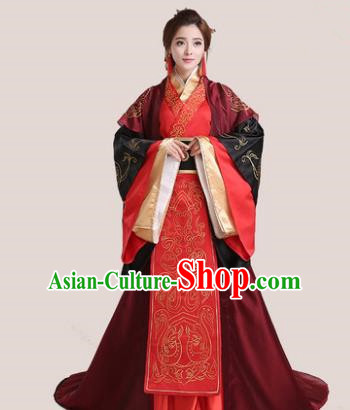Traditional Chinese Han Dynasty Palace Princess Wedding Costume, China Ancient Bride Hanfu Embroidered Clothing for Women