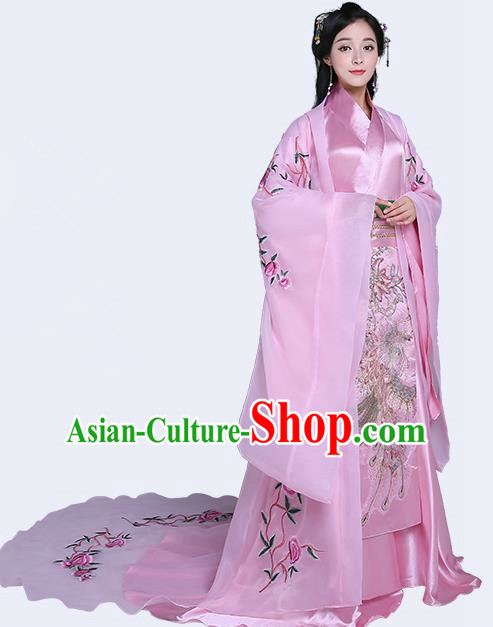 Traditional Chinese Han Dynasty Imperial Concubine Costume, China Ancient Princess Hanfu Tailing Embroidered Clothing for Women