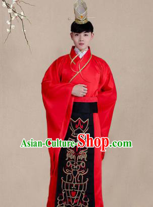 Traditional Chinese Han Dynasty Bridegroom Wedding Costume, China Ancient Minister Embroidered Hanfu Clothing for Men
