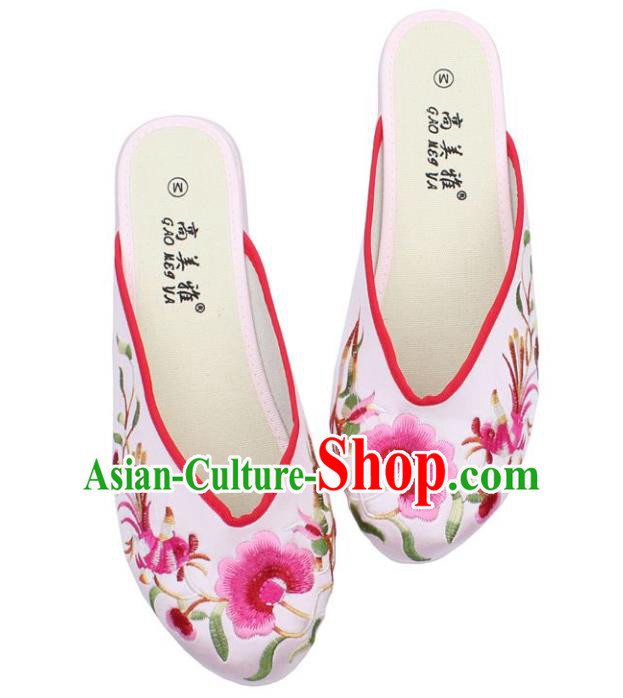 Traditional Chinese National Bride White Embroidered Shoes, China Handmade Embroidery Phoenix Peony Hanfu Slippers for Women