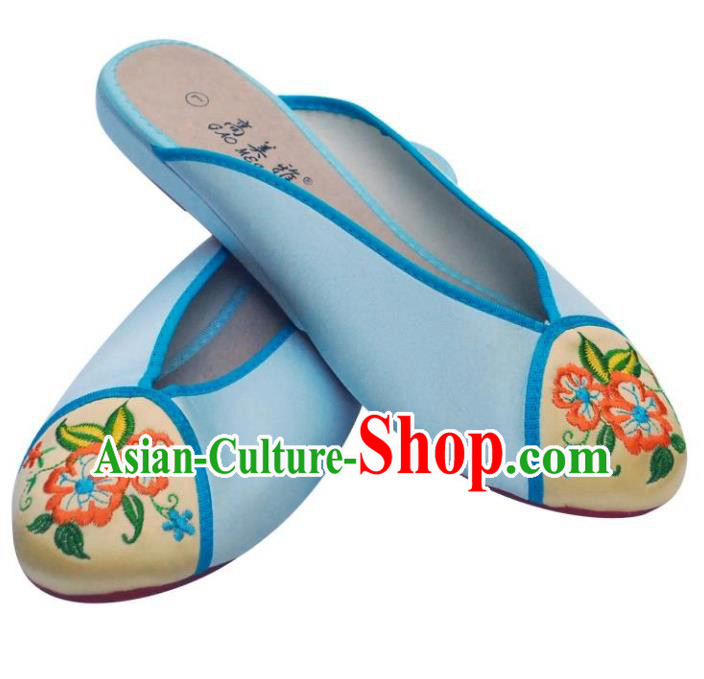 Traditional Chinese National Bride Blue Embroidered Slippers, China Handmade Embroidery Flowers Hanfu Shoes for Women