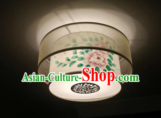Traditional Chinese Handmade Sheepskin Painting Peony Palace Lantern China Ceiling Palace Lamp