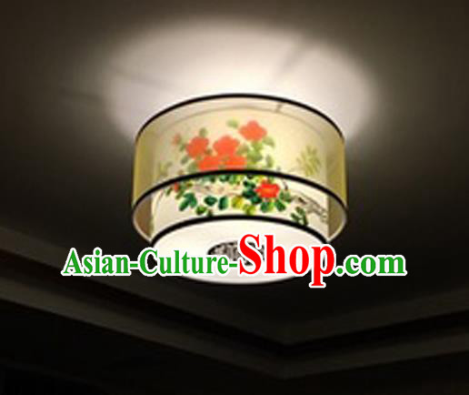 Traditional Chinese Handmade Sheepskin Painting Red Flowers Palace Lantern China Ceiling Palace Lamp