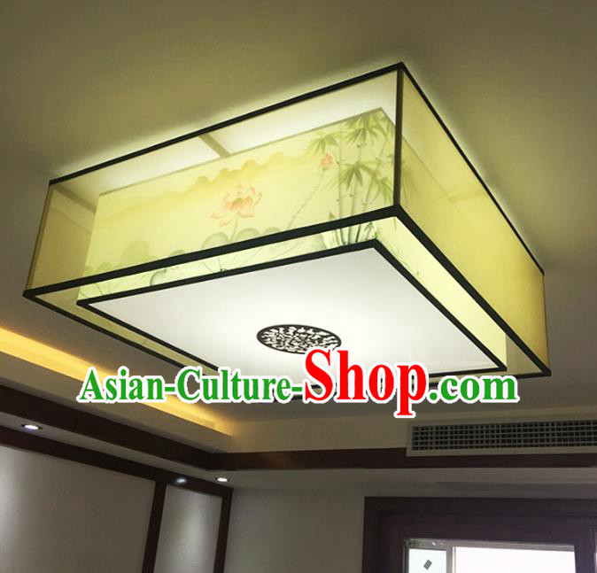 Traditional Chinese Handmade Sheepskin Painting Lotus Bamboo Palace Lantern China Ceiling Square Palace Lamp