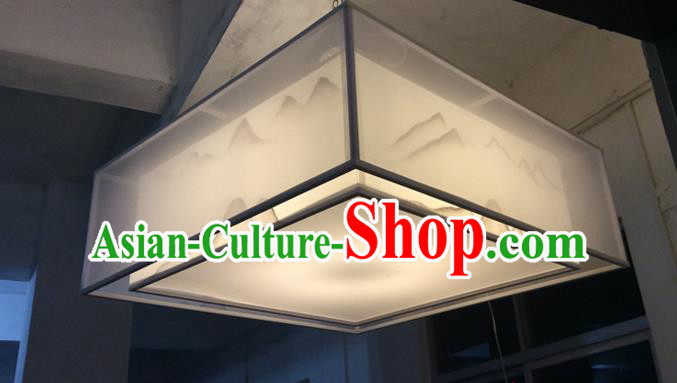 Traditional Chinese Handmade Sheepskin Painting Landscape Palace Lantern China Ceiling Square Palace Lamp