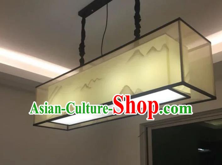 Traditional Chinese Handmade Painting Landscape Sheepskin Palace Lantern China Ceiling Palace Lamp