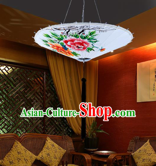 Traditional Chinese Handmade Painting Peony Palace Lantern China Ceiling Palace Lamp