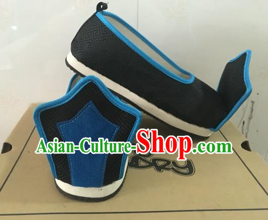 Traditional Handmade Chinese Han Dynasty Minister Shoes Hanfu Embroidery Black Shoes for Men