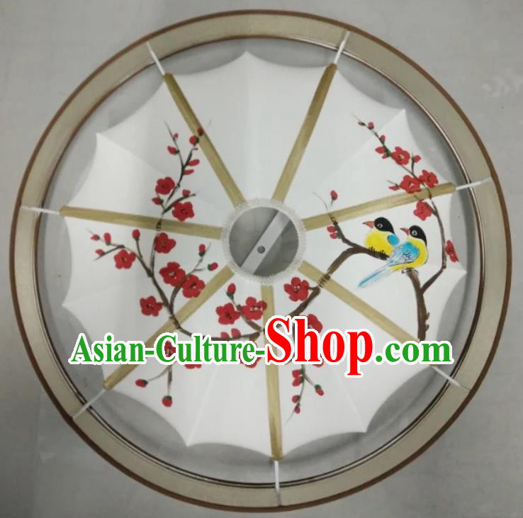 Traditional Chinese Handmade Painting Wintersweet Birds Palace Lantern China Ceiling Palace Lamp