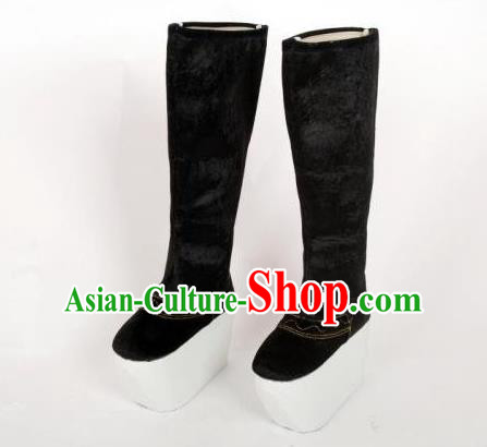 Traditional Handmade Chinese Han Dynasty Minister Buskin Boots Hanfu Shoes for Men