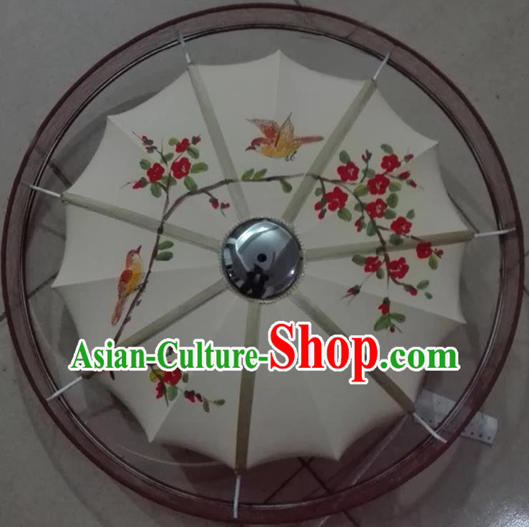 Traditional Chinese Handmade Painting Peach Blossom Birds Palace Lantern China Ceiling Palace Lamp