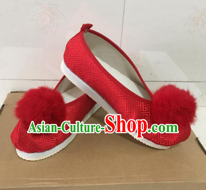 Traditional Chinese Ancient Princess Embroidered Red Blood Stained Shoes, China Handmade Hanfu Embroidery Shoes for Women