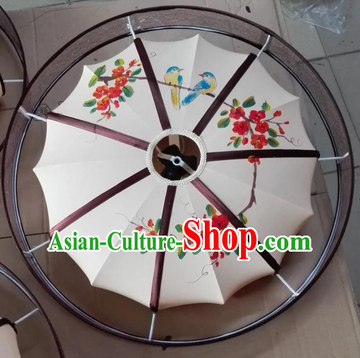 Traditional Chinese Handmade Painting Red Flowers Birds Palace Lantern China Ceiling Palace Lamp