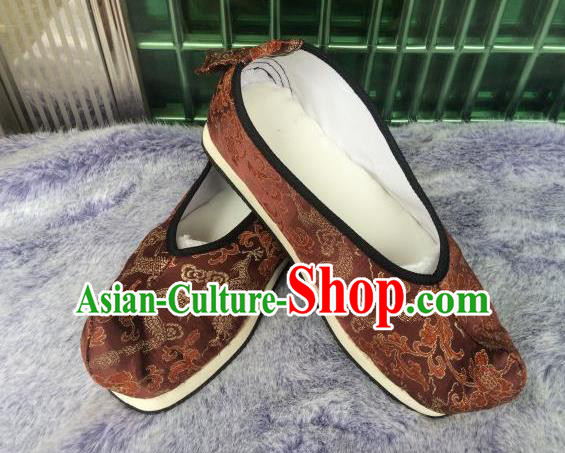 Traditional Chinese Ancient Princess Brown Satin Embroidered Shoes, China Handmade Hanfu Embroidery Shoes for Women