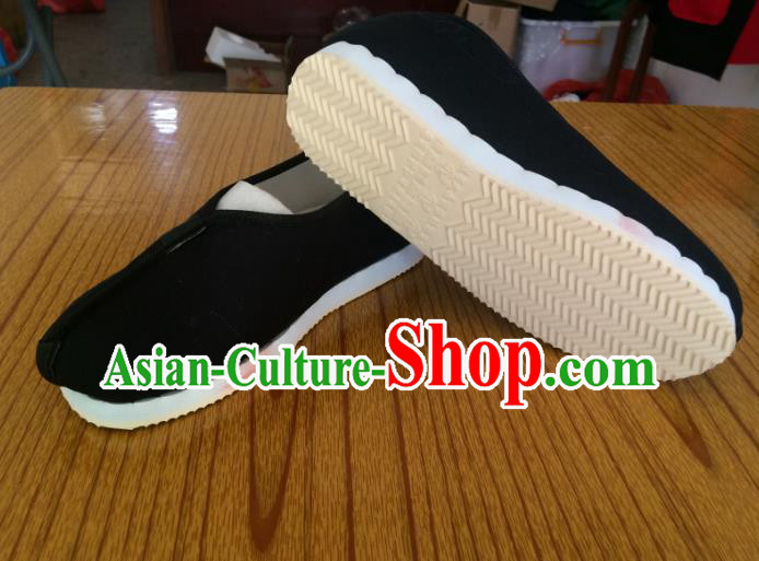 Traditional Chinese Ancient Han Dynasty Black Cloth Shoes Monk Shoes, China Handmade Hanfu Shoes for Men