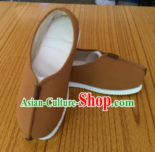 Traditional Chinese Ancient Han Dynasty Brown Cloth Shoes Monk Shoes, China Handmade Hanfu Shoes for Men