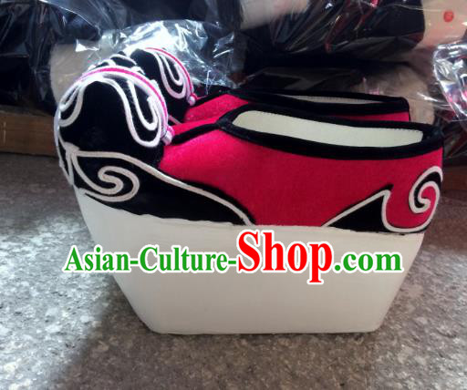Traditional Chinese Ancient Peking Opera Niche Embroidered Shoes, China Handmade Hanfu Red Embroidery Shoes for Men