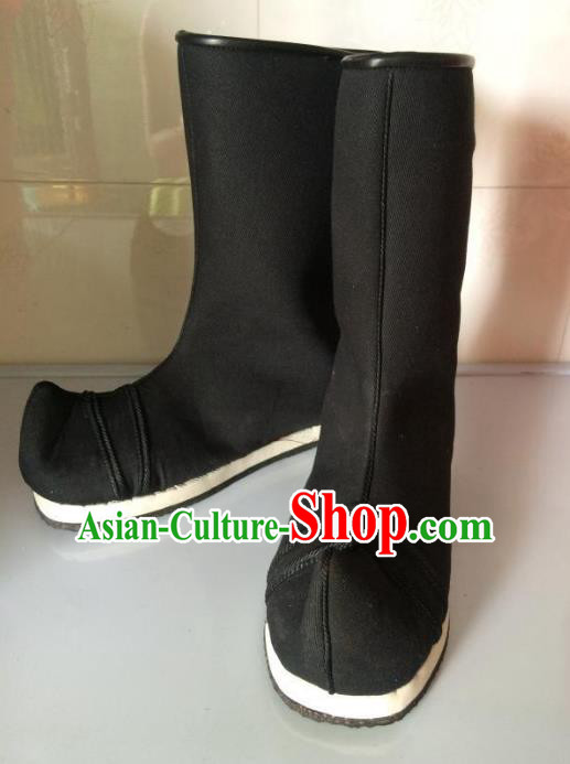 Traditional Chinese Ancient Peking Opera Takefu Black Boots, China Handmade Swordsman Hanfu Embroidery Shoes for Men