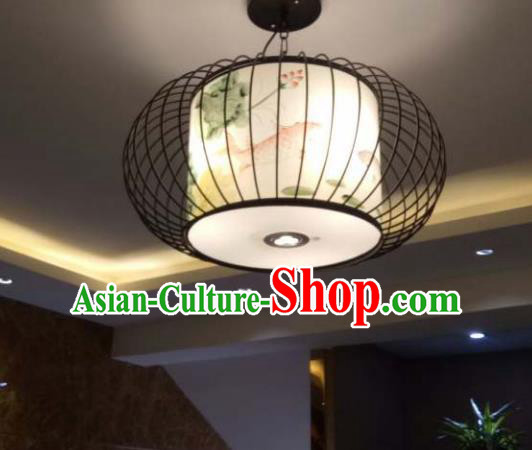 Traditional Chinese Handmade Painting Lotus Bird Palace Lantern China Ceiling Palace Lamp