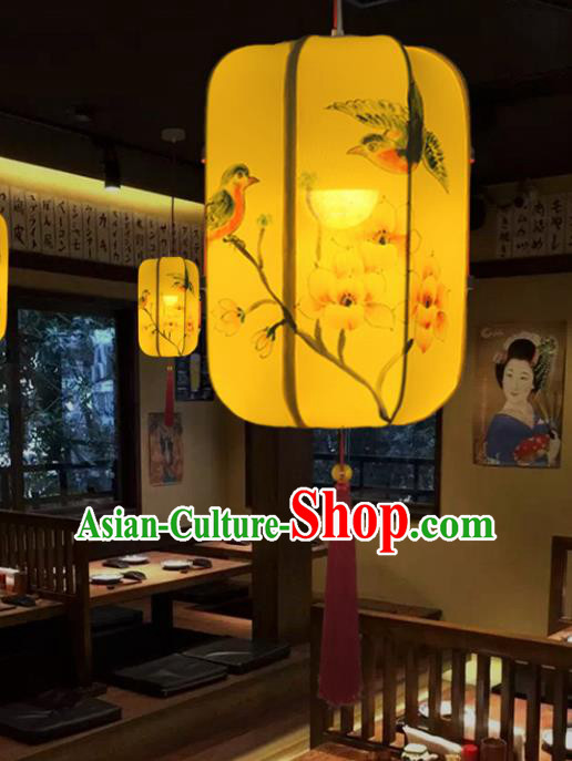 Traditional Chinese Handmade Painting Birds Flowers Palace Lantern China Ceiling Palace Lamp