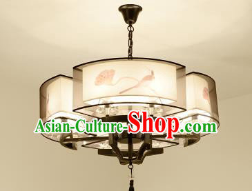 Traditional Chinese Handmade Sheepskin Printing Lotus Palace Lantern China Ceiling Palace Lamp