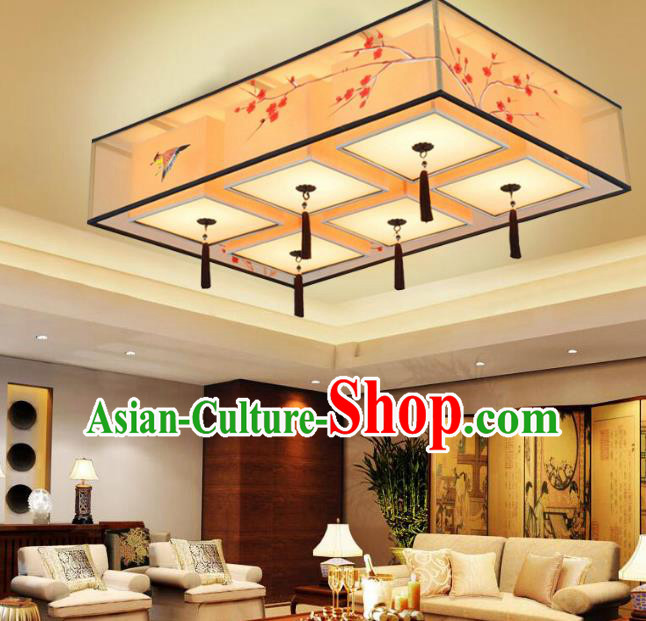Traditional Chinese Handmade Painting Wintersweet Silk Palace Lantern China Ceiling Palace Lamp