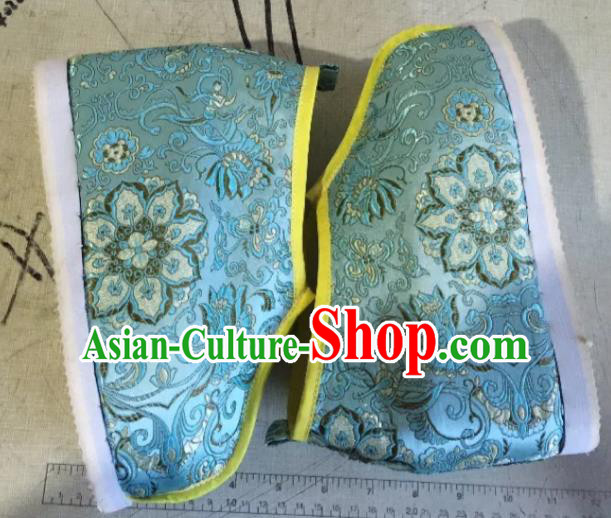 Traditional Chinese Ancient Swordsman Blue Satin Shoes, China Handmade Peking Opera Hanfu Embroidery Shoes for Women