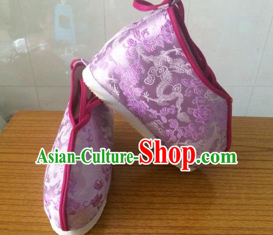 Traditional Chinese Ancient Swordsman Purple Satin Shoes, China Handmade Peking Opera Hanfu Embroidery Shoes for Women