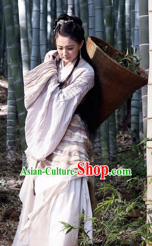 Traditional Ancient Chinese Young Lady Embroidered Tailing Dress Costume and Headpiece Complete Set for Women