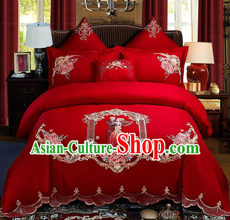Traditional Chinese Style Wedding Bedding Set, China National Marriage Embroidery Love Couple Red Textile Bedding Sheet Quilt Cover Seven-piece suit